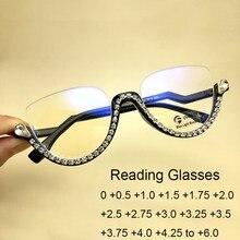 Gafas de lectura tipo Ojo de gato con diamantes de imitación para mujer, filtro de ordenador a la moda, bloqueo de luz azul, gafas de medio Marco, 2020