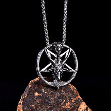 Stainless Steel Satan Vintage Skull Star of David Pendant Necklaces Punk Rock Evil Necklaces Jewelry For Him(China)