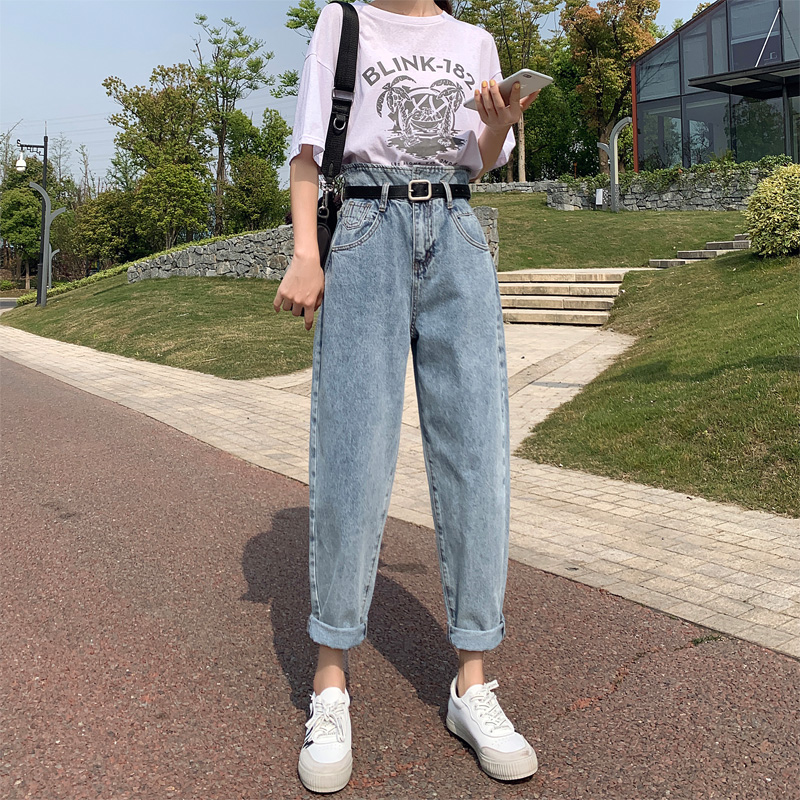 High Waist Jeans Boyfriend Blue Rugged Jeans Woman Denim Harem Pants Ladies Jeans Trousers Vintage Plus Size Korean New Casual