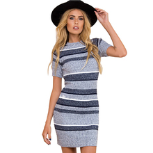 купить Fashion Sexy Women Dress Round Neck Short Sleeve Stitching Mini Dress Sweater O-neck Women Clothes Summer Dress 2019 Boho Style дешево