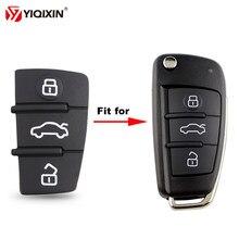 Yiqixin 3 botão reparação almofada de couro para audi a6l tt a3 a8 a2 a4 a5 a6 s linha rs s1 s4 s5 q3 remoto carro chave do escudo almofada de borracha