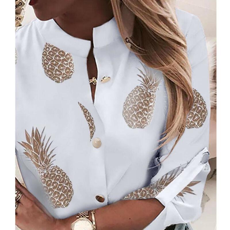 Fashion Women Long Sleeve Gold Pineapple Print Blouse V Neck Shirt Office Ladies Party Elegant Streetwear femininas Plus Size 3