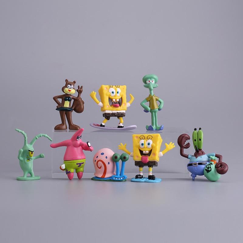 8pcs/set Sponges Action Figure Toy Bob Patrick Star Anime Cartoon PVC Model Toy Cake Decoration Children Kids Gift