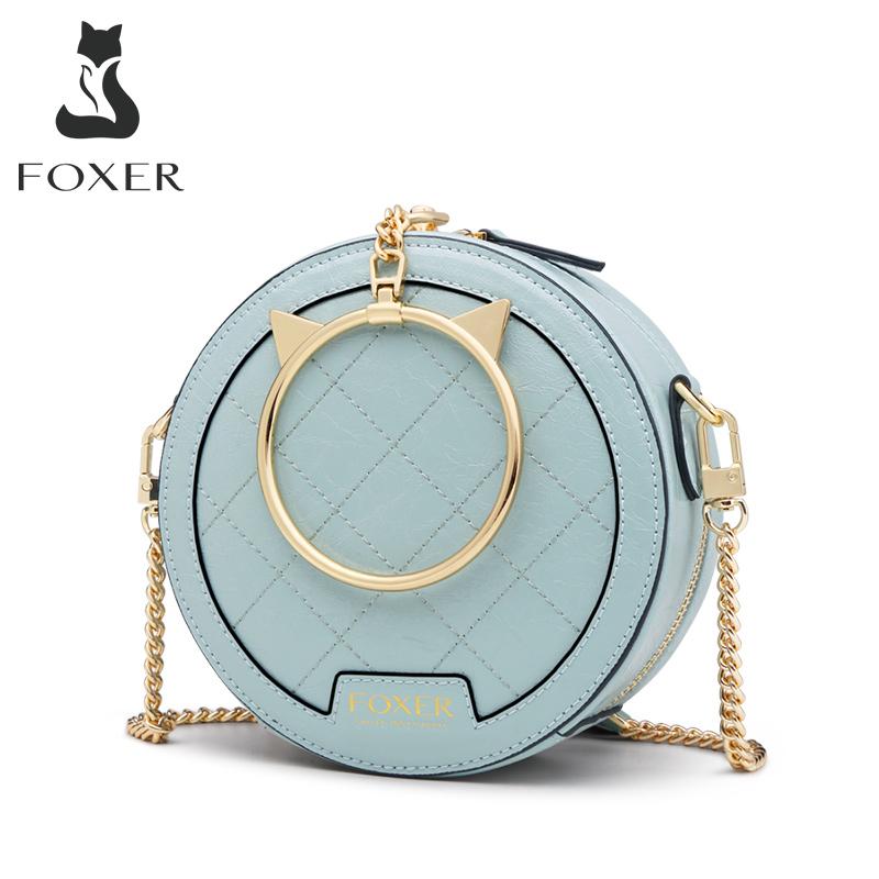 FOXER Women Mini Crossbody bag Elegant Small Tote Female Leather Round Handbag Fashion Style Lady Round clutch Messenger Bags