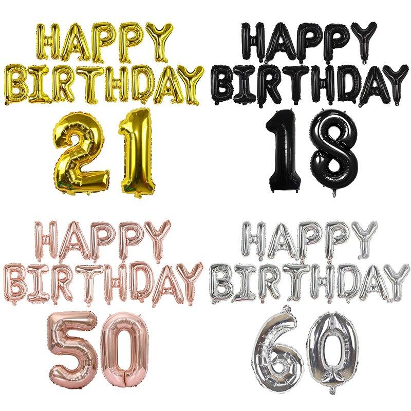 1 Set Glücklich Geburtstag Ballon Decor Brief Anzahl Folien Ballons 18 21 30 40 50 60th Erwachsene Geburtstag Party Dekoration helium Ballon