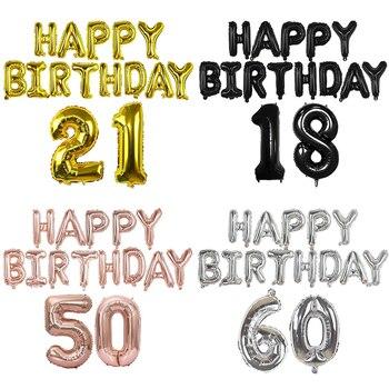 15 Uds Feliz cumpleaños globo carta número globos de papel de aluminio 18 21 30 40 50 60th adulto decoración de fiesta de cumpleaños globo de helio