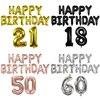 بالونات عيد ميلاد سعيد بأرقام الحروف ، 15 قطعة/قطعة/المجموعة ، زينة حفلات الكبار ، هيليوم ، مقاس 18 ، 21 ، 30 ، 40 ، 50 ، 60