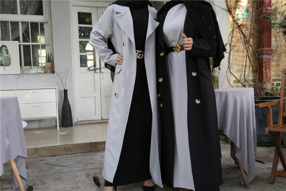 Muslim Outwear Coat Jacket Windbreaker Open Abaya Cardigan Kimono Long Robe Gowns Jubah Middle East Ramadan Arab Islamic Djelaba