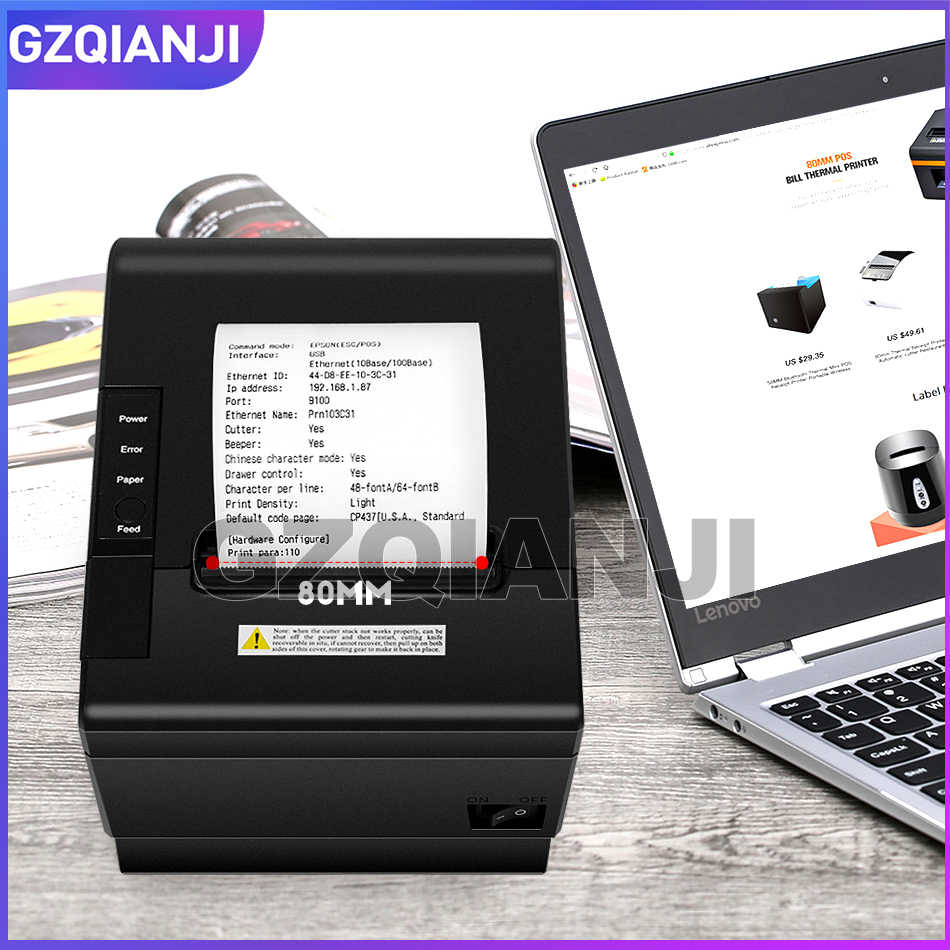 Baru Penerimaan Termal Printer Tagihan 80Mm Toko Retail POS Penerimaan Kasir Jaringan Port Serial Port USB Printer Thermal GZ8005
