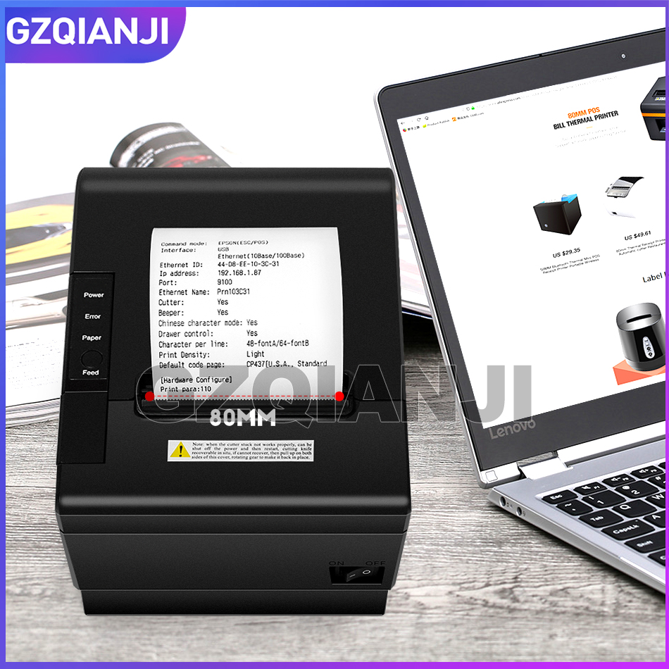 NEW Thermal Receipt Bill Printer 80mm Retail Shop POS Receipt Cashier Network Port Serial Port USB Thermal Printer GZ8005