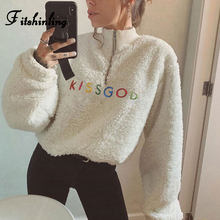Fitshinling Zip-Up Turtlenecks Lambswool Sweatshirts Winter Embroidery Letter Colorful Polerones Mujer Casual Women's Sweatshirt letter embroidery lace up tee