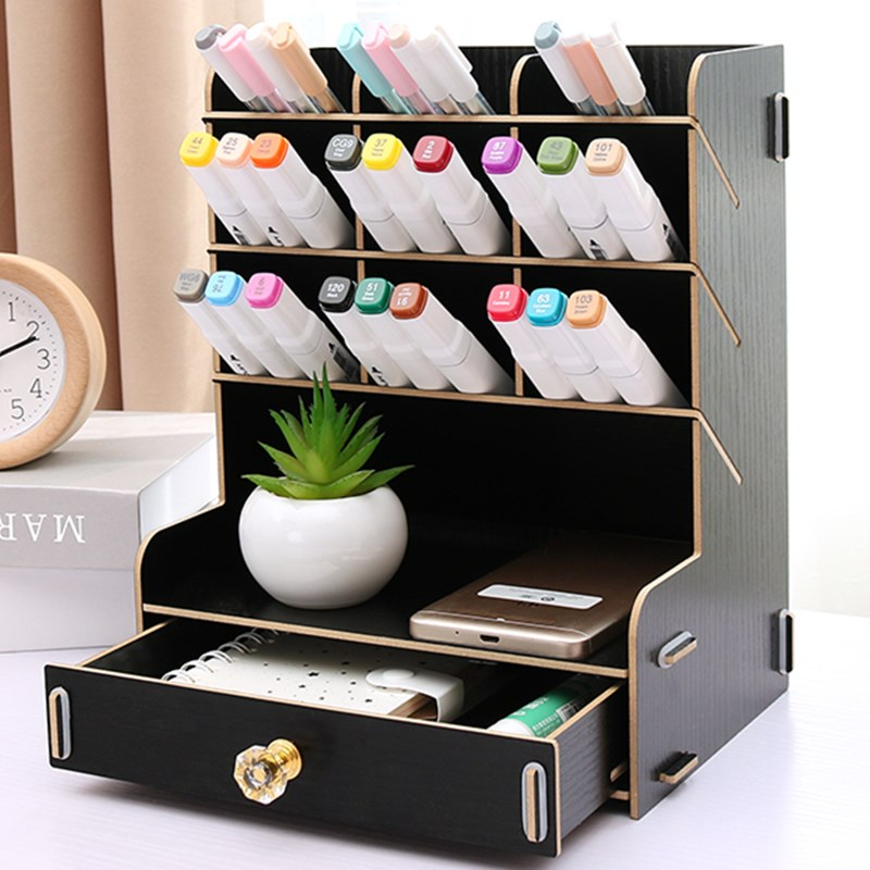 Pen holder creative female fashion  primary school students desk desktop multifunctional oblique stationery receiving box wood