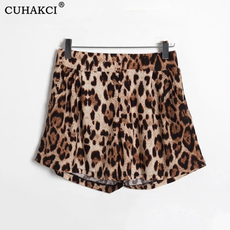 CUHAKCI Ladies Sexy Shorts Hot Sale Summer Fashion New Loose Women Printed Leopard Shorts Elastic Plus Size Short S M L