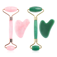 Rose Quartz Jade Roller Gua Sha Face Roller Facial Beauty Roller Skin Care Tools Mute Roller Massager for Eyes Neck Body Muscle 5