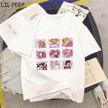 Harajuku moda Streetwear Sailor Moon de talla grande mujer Vintage alta Camiseta estilo urbano camisa Femme 90s tapas ropa coreana cómoda