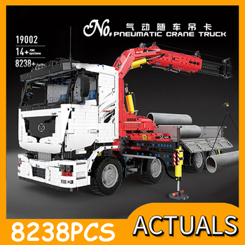 Mould King Technic Series The MOC-8800 RC Pneumatic Crane Truck Car Model Building Blocks Bricks 42043 Toys Kids Christmas Gift 20004 app rc technic series car motor power mobile crane mk ii model building blocks bricks compatible with 42009 toys kids gift