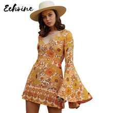 Echoine Orange/Yellow Jupiter Floral Print Dress Women Autumn Plunging V Neck Long Bell Sweet Split Sleeve Short Dress Plus Size ethnic plunging neck long sleeve print blouse for women