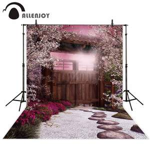 Allenjoy dreamy vintage patio backdrop for photography Wooden door Cherry tree garden