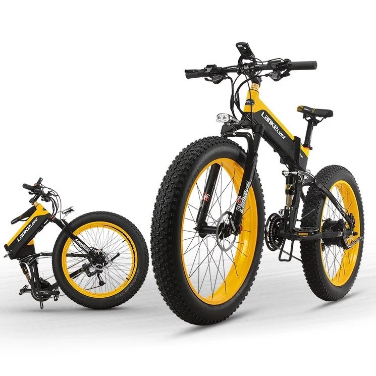 "EU Quality Level LANKELEISI 26x4.0"" 1000W Fat Tire Folding Electric Bicycle 48V 1000W 13AH Panasoni'c Lithium Battery 6"