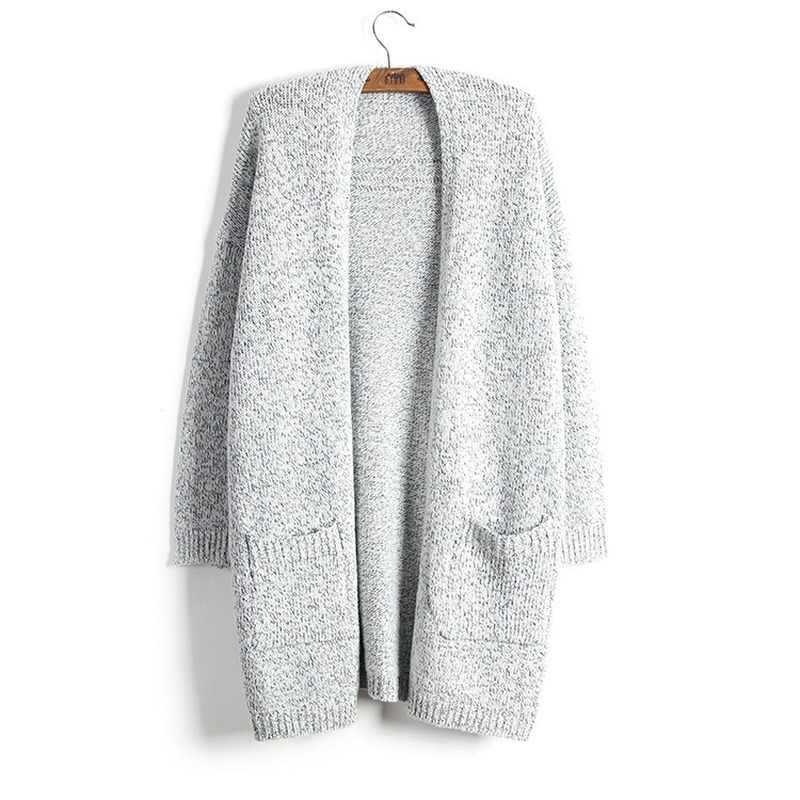 VITIANA Женский Повседневный свитер, длинный кардиган с длинными рукавами и карманами, серое пальто с открытой строчкой, женская зимняя одежда, осень 2020