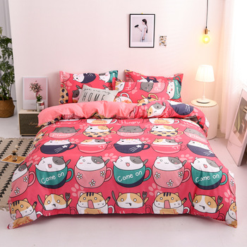 Cartoon Coffee Cat Print Bed Cover Set Kids Girl Duvet Cover Adult Child Bed Sheets And Pillowcases Comforter Bedding Set 61062 image