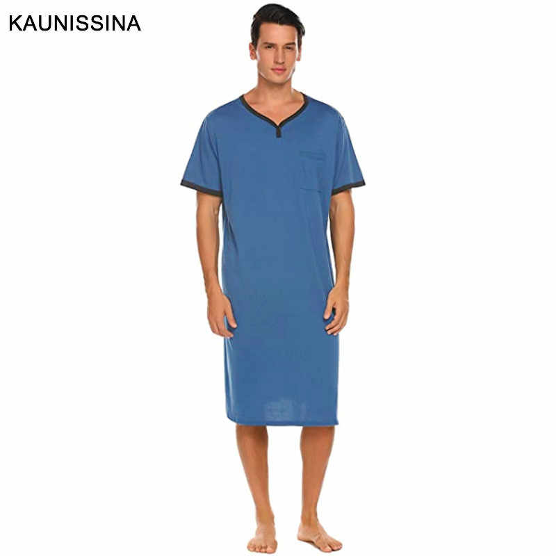 Sykooria Camisa de Dormir para Hombre Camis/ón de Manga Corta Pijama Top Algod/ón de Punto Ligero Ropa de Dormir Suave Ropa de Dormir para el hogar Hospital