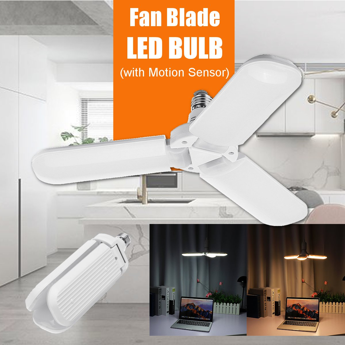 LED Garage Lights E27 Folding Motion Sensor LED Bulb Pendant Lamp Workshop Adjustable Fan Blades Deformable Ceiling Lighting