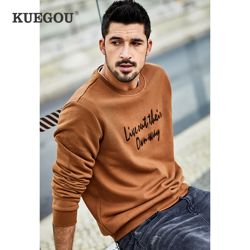 KUEGOU 2020 Spring 100% Cotton Embroidery White Blue Sweatshirt Men Fashion Japanese Streetwear Hip Hop Male Brand Clothes 2234