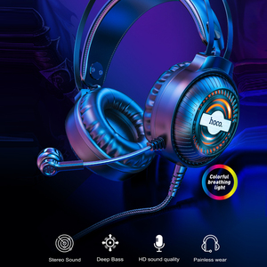 Image 2 - HOCO Led Light Gaming Headset Studio DJ Headphones Stereo Over Ear Wired Headphone With Microphone For PC PS4 Xbox One Gamer
