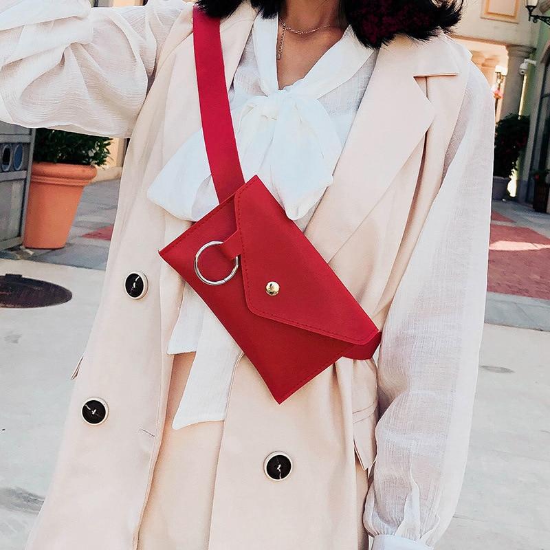 2019 Fanny Pack Women Banana Belt Bag Leather Waist Bag Fashion Women's Pure Color Ring PU Messenger Shoulder Chest Pochete