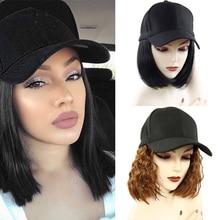 בייסבול כובע קצר פאות עבור נשים חום סיבים עמידים שחור שיער פאה חום סינטטי בוב פאות למכירה