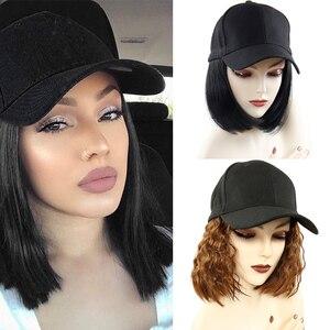 Image 1 - Perruque Bob synthétique courte casquette de Baseball, perruque en Fiber noire et brune résistante à la chaleur pour femmes