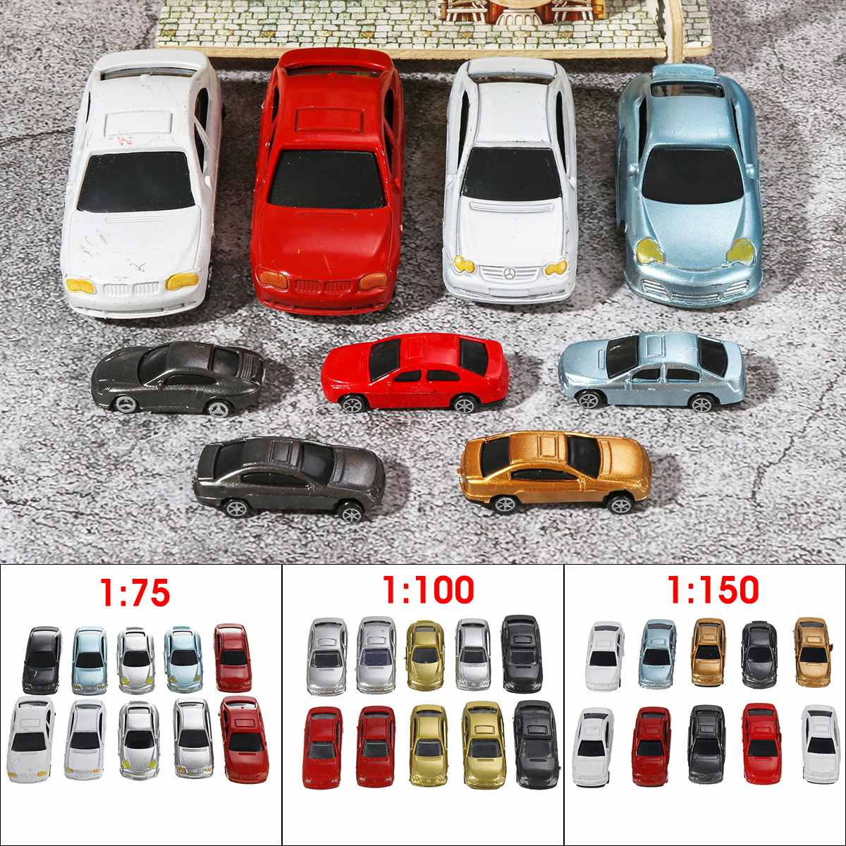 10Pcs 1:75/<font><b>1:100</b></font>/1:150 Scale Plastic Model <font><b>Car</b></font> Miniatures For Model Building Toys Train Layout Railway Modeling <font><b>Car</b></font> Kids GIfts image