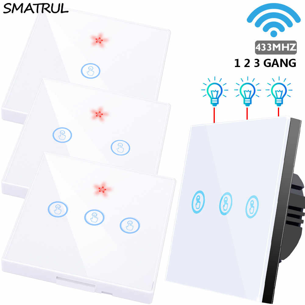 Smatrul 433 MHZ Smart Wireless Touch Switch RF Remote Control 110 V 220 V Layar Dinding Panel Tombol receiver Lampu LED