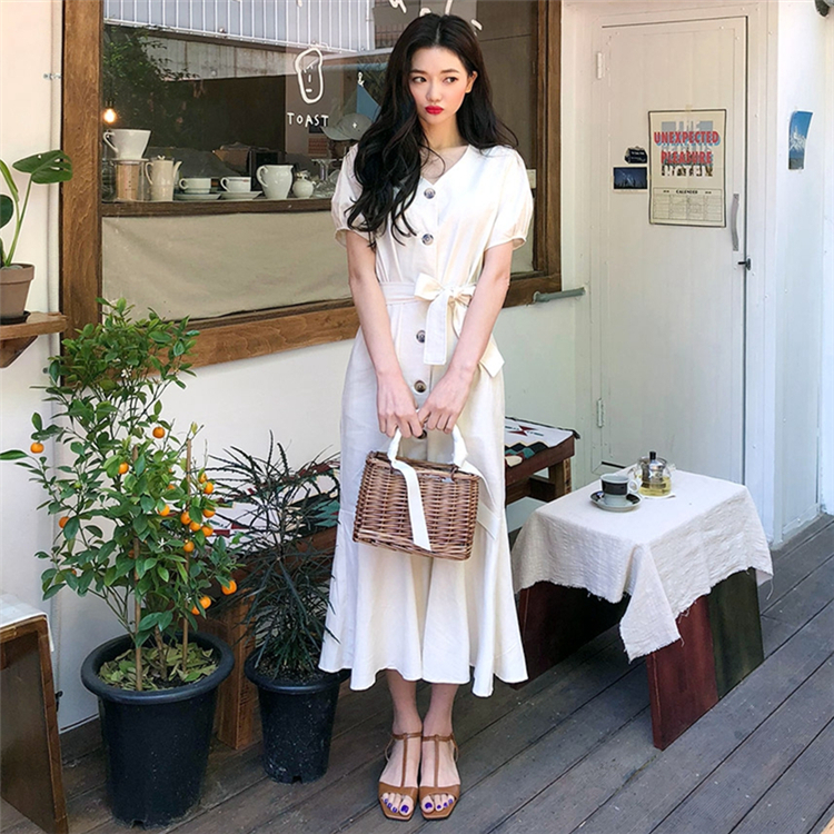 2020 New Summer Women Dresses Vintage High Waist V-Neck Casual Single Breasted Lace Up Bow Puff Sleeve Trumpet Long Dress DR1969