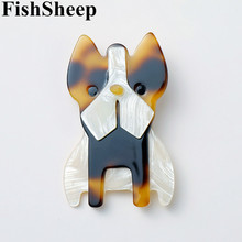 FishSheep Acrylic Big Bulldog Pug Dog Brooches For Women Resin Lovely Animal Dogs Shape Brooch And Pins Clothes Accessories Gift fishsheep large women figure acrylic brooches and pins fashion resin girl icon big brooch pins female fashion jewelry accessory