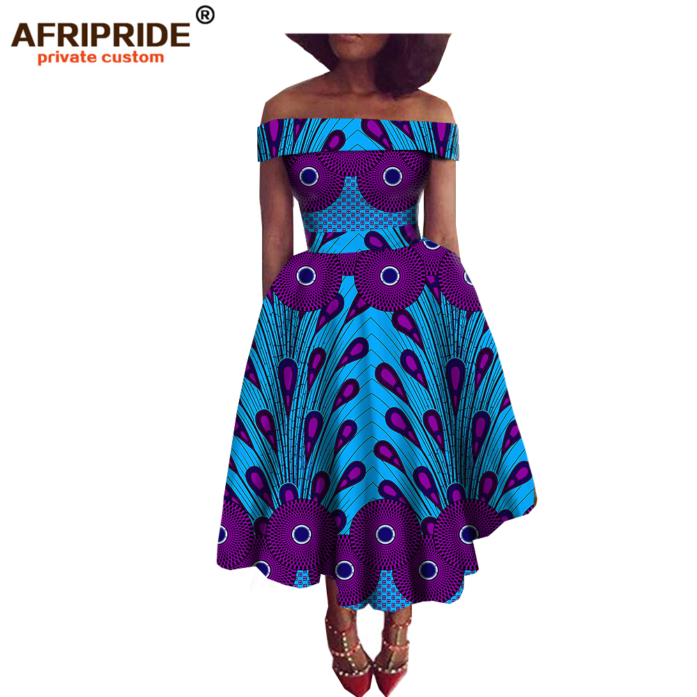 Latest spring african style party dress for women dashiki traditional print strapless plus size A722516