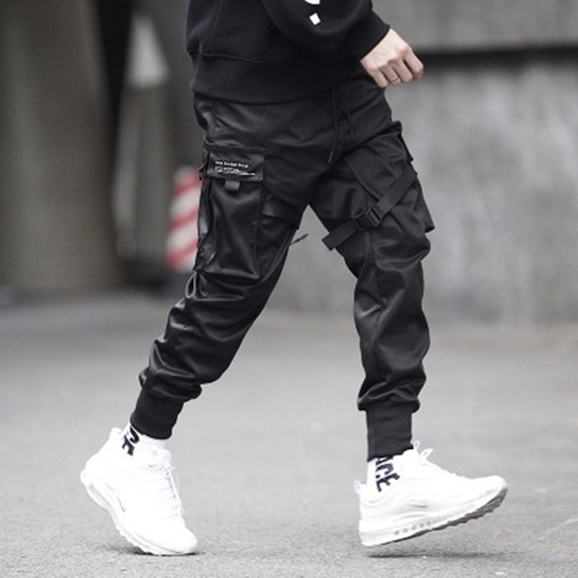 Ribbons Cargo Pants Men  Casual Streetwear Harajuku Pants Hip Hop Trendy casual youth slim pants  Stylish Men's Jogger Trousers 35