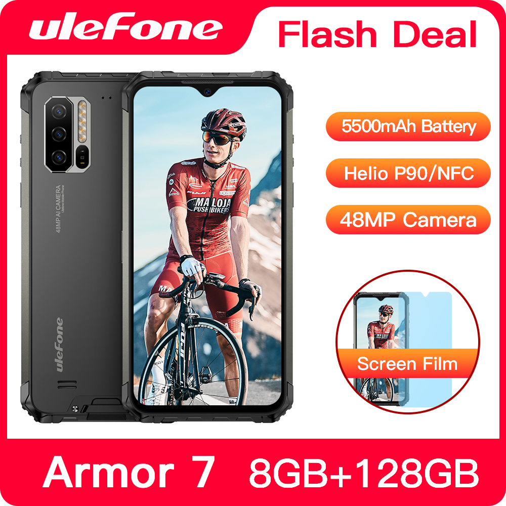 Ulefone Armor 7 IP68 Waterproof Rugged Smartphone Android 9.0 NFC Helio P90 5G WIFI 6.3'' 8GB+128GB 48MP 5500mAh Mobile Phone
