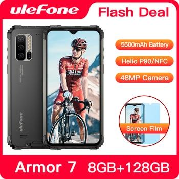 Ulefone Armor 7 IP68 Waterproof Rugged Smartphone Android 9.0 NFC Helio P90 5G WIFI 6.3'' 8GB+128GB 48MP 5500mAh Mobile Phone