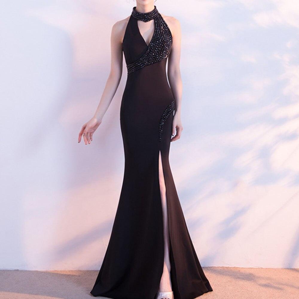 Dressv Black Halter Neck Evening Dress Mermaid Floor Length Sleeveless Appliques Wedding Party Formal Gowns Evening Dresses