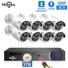 Hiseeu H.265 8CH 5MP POE kamera ochrony zestaw do organizacji AI wykrywanie twarzy nagrywanie dźwięku kamera IP IR wideo CCTV nadzór NVR zestaw