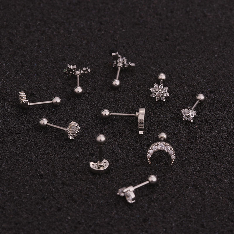 1PC Silver Color CZ Stud Piercing Flower Moon Star Cartilage Earring Fashion Conch Tragus Stud Helix Cartilage Piercing Jewelry