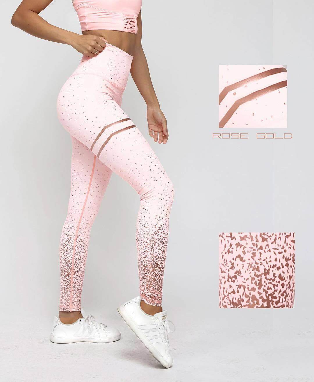 2020 New High Waist Stretch Bronzing Printed Pants, Slim Leggings Women