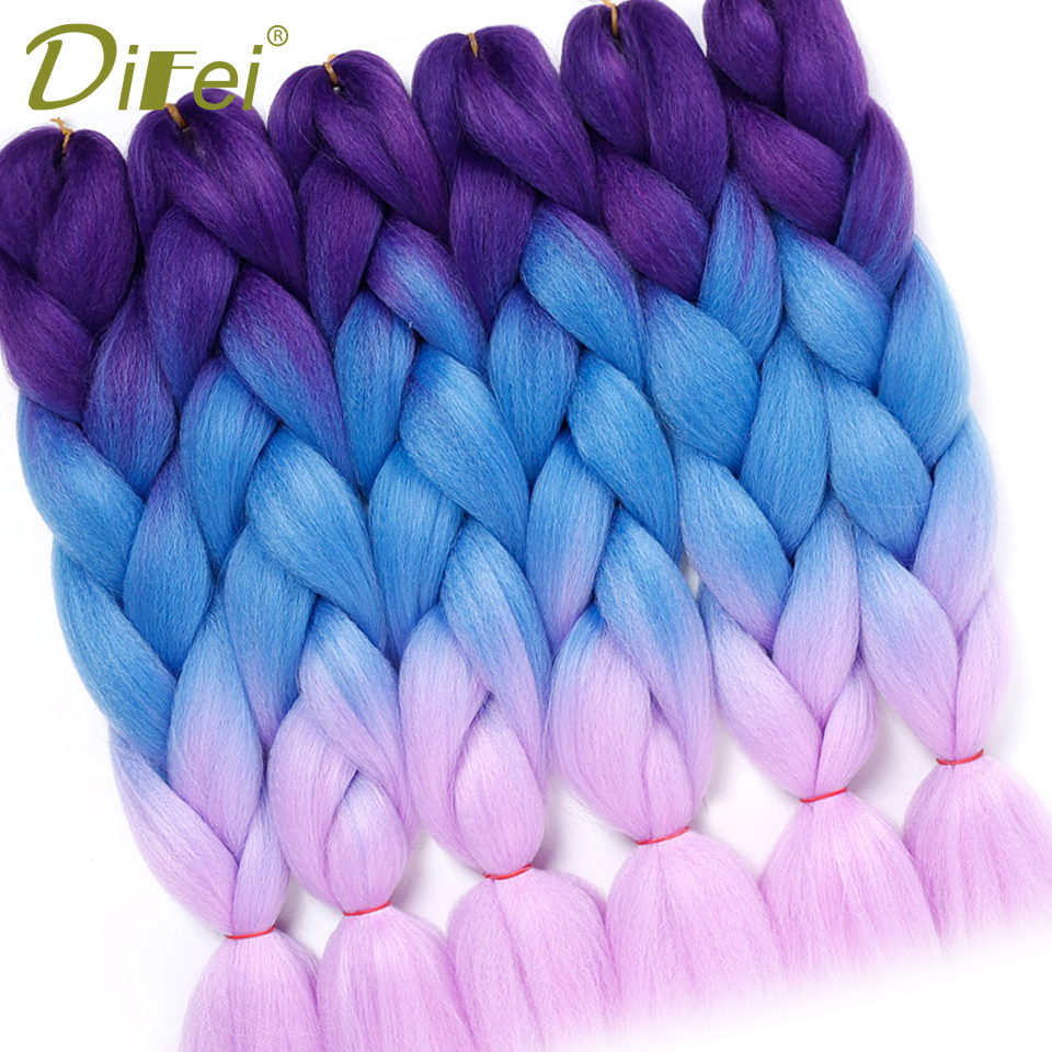 DIFEI Women 24 Inch 100g/pack Crochet Jumbo Braids Pink Green Blue Synthetic Purple Ombre Braiding Hair Extensions