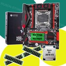 HUANANZHI X99 LGA2011 3 çift M.2 yuvası anakart ile CPU Xeon E5 2678 V3 RAM 64G(4*16G) 1866 REG ECC tüm test bilgisayar satın