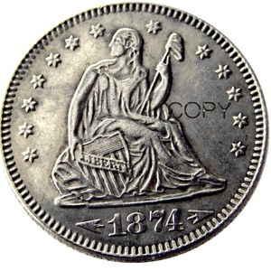 USA 1874 1874-S Seated Liberty Quarter Dollars Different Mint Silver Plated 25 Cents Copy Coin(China)