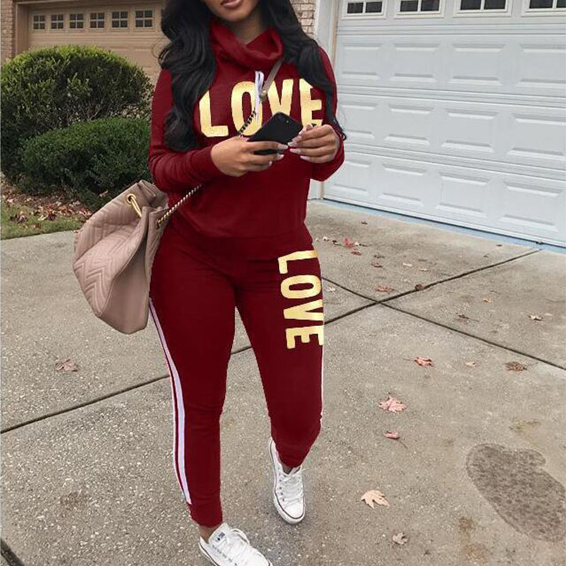 Love Letter Print 2 Piece Set Women Striped Hoodies Sweatshirt Tops Pants Casual Outfit Sweat Suits Two Piece Tracksuit