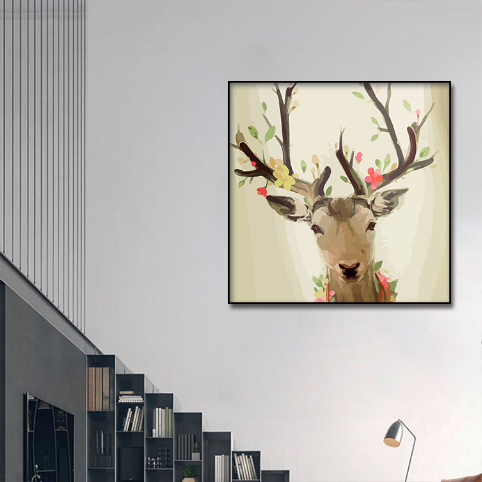 Abstract Flower Deer Poster 1pcs Modern Home Wall Decor Canvas Picture Art HD Print Painting On Canvas for Living Room