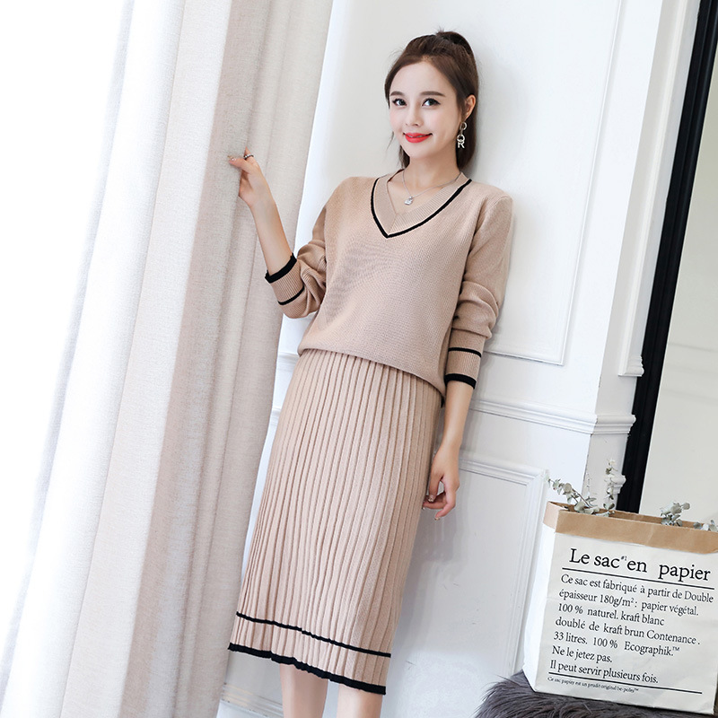 Autumn And Winter Long Sleeve Knitted Sweater WOMEN'S Suit Two-Piece Skirt